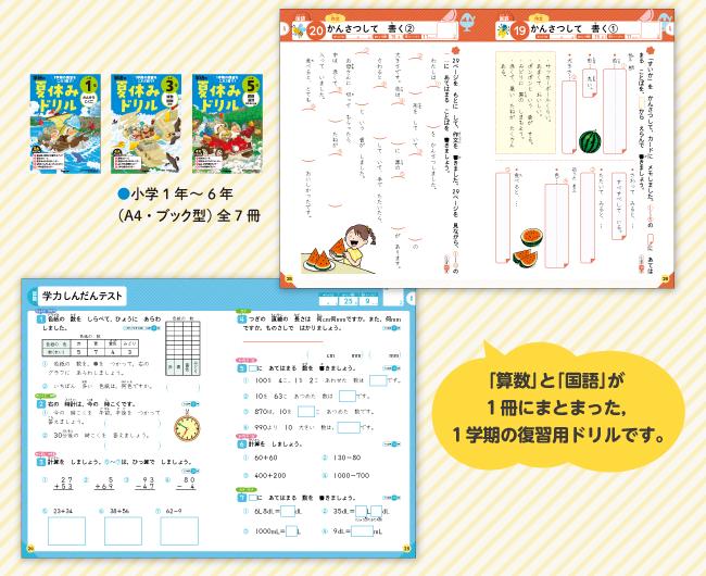 「算数」と「国語」が1冊にまとまった、1学期の復習用ドリルです。